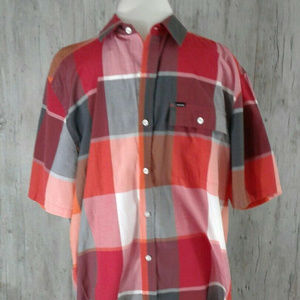 Hurley Men's Checked Short Sleeve Shirt Size XL